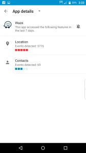 Location access requests by Waze